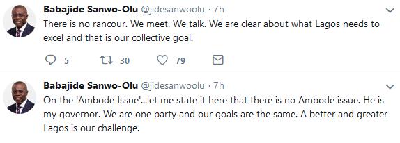 No rancour between Ambode and myself? Sanwo-Olu