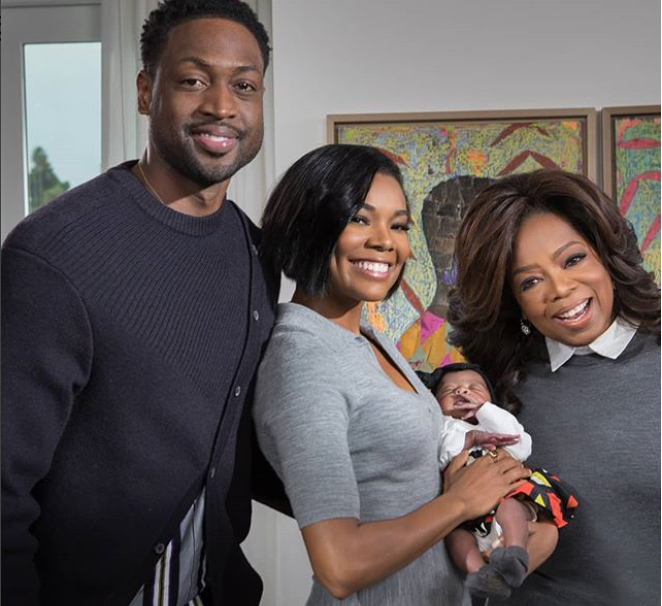 Adorable photos of Oprah Winfrey cradling Gabrielle Union and Dwyane Wade