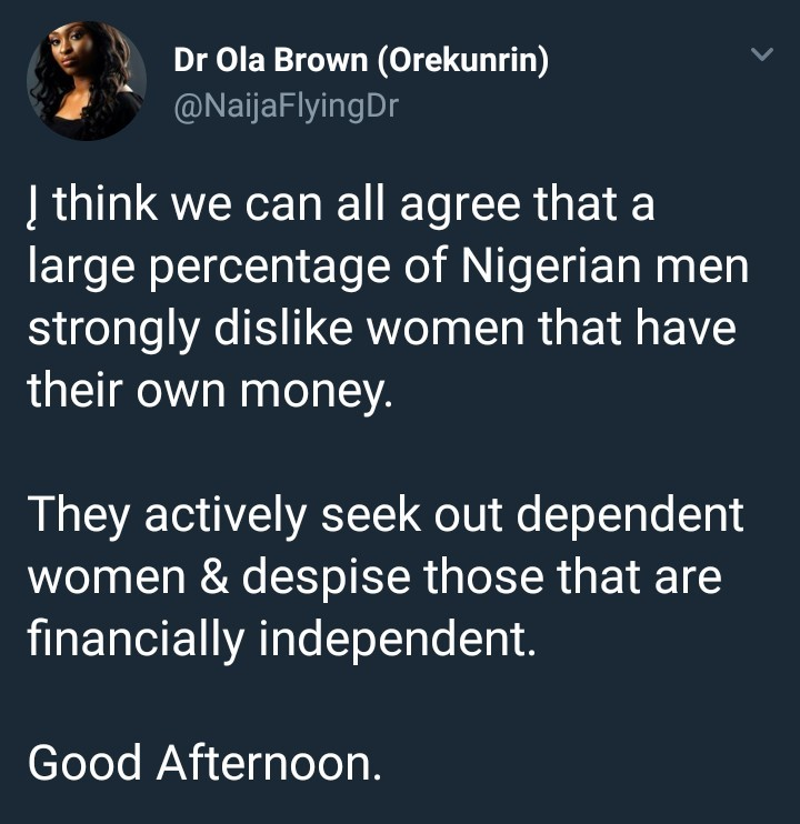 Read these tweets about Nigerian men, women and money and tell us which side you