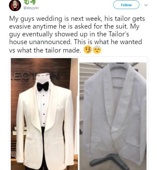 The suit a groom ordered VS what he got a few days to his wedding (Photo)