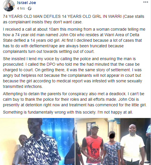 74-year-old man is accused of raping a teenage girl in Warri (photos)