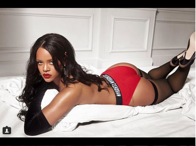 Rihanna shows off her curves as she strips down to her panties in new sultry photo?