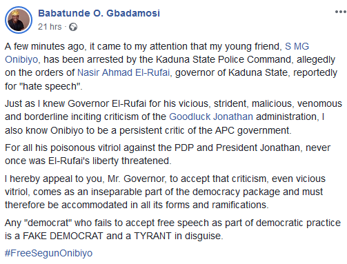 Governor El-Rufai accused of ordering arrest of media personality, Segun Onibiyo, over his Facebook post against President Buhari