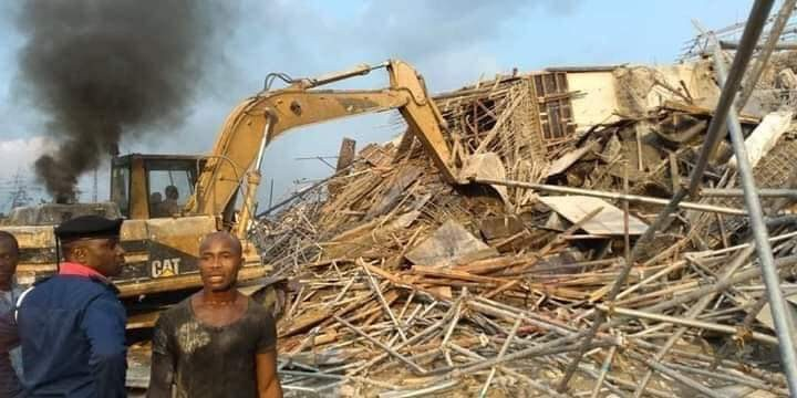 Photos: One feared dead after seven-storey building collapses in Port Harcourt