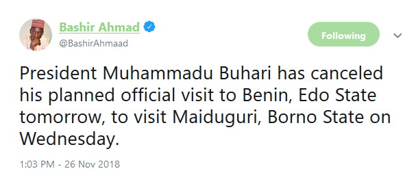 President Buhari cancels official visit to Edo, to visit Borno state tomorrow