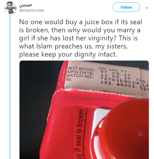 Man likens non-virgin women to a broken juice box and Twitter users react (screenshots)