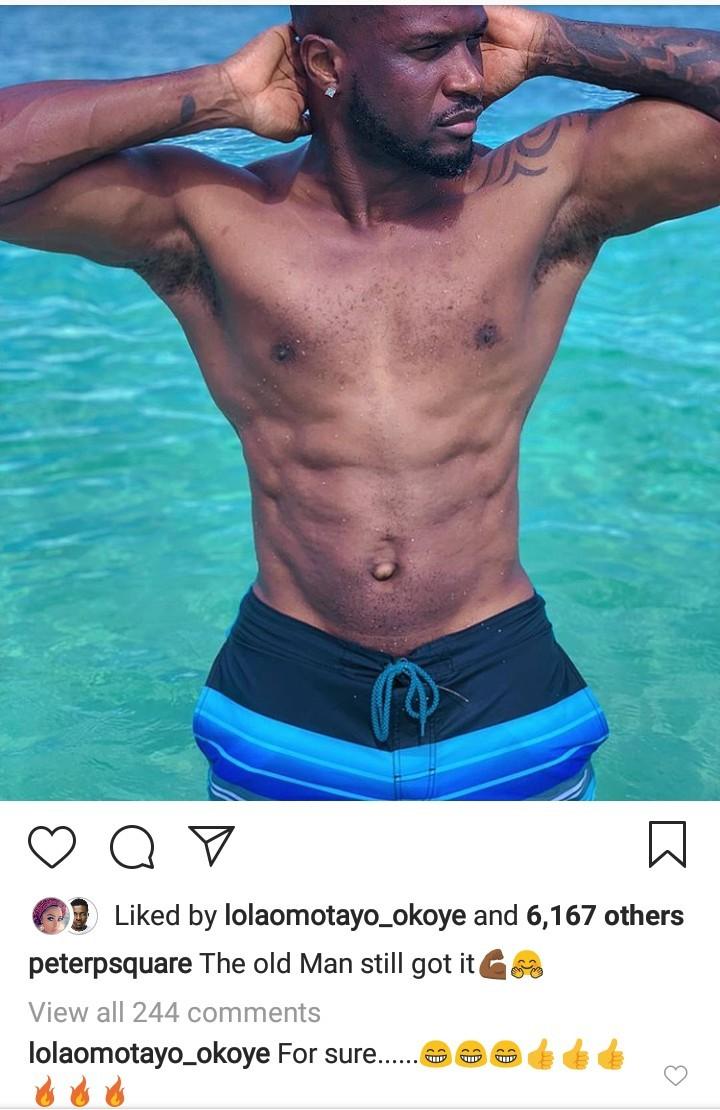 Between Peter Okoye and Lola Omotayo on Instagram