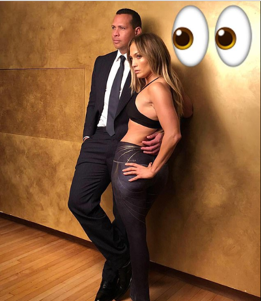 Jennifer Lopez flashes her midriff as she poses with beau Alex Rodriguez for a photoshoot (Photos)