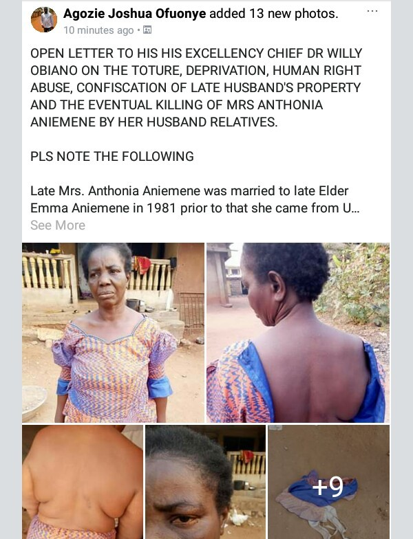 Photos: Anambra widow falls sick and dies after she was allegedly forced to drink a concoction by husband