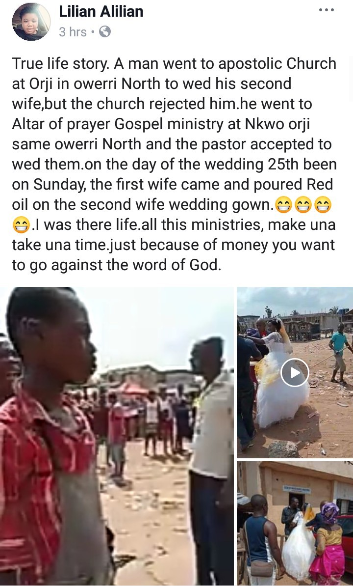 Drama as first wife storms wedding venue and pours red oil on her husband