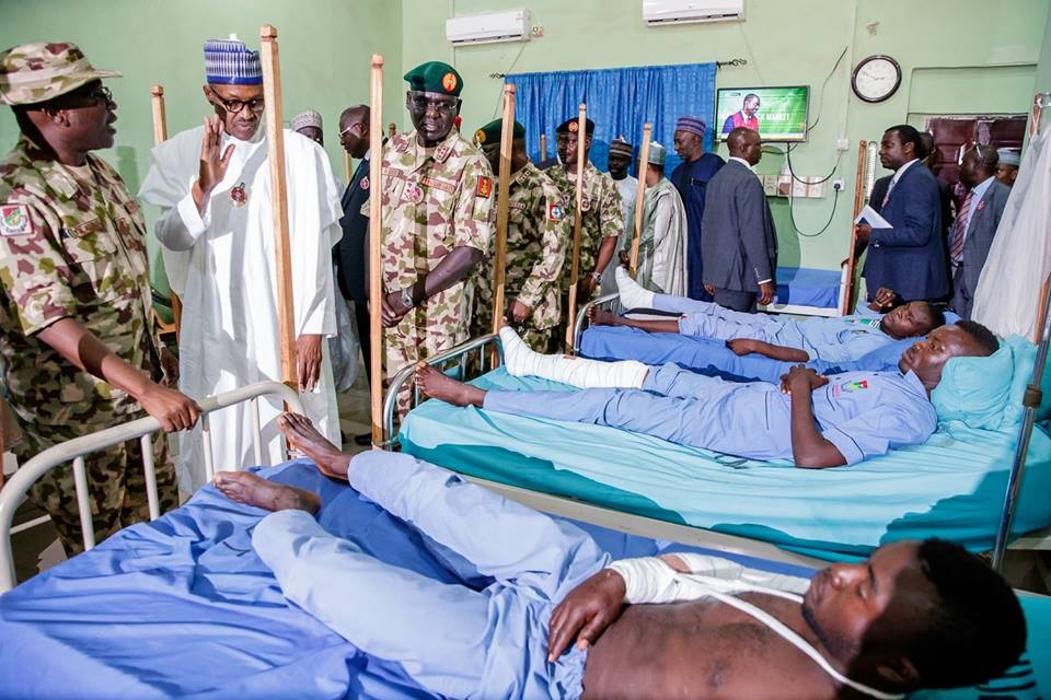 President Buhari visits wounded soldiers in Maiduguri, orders military to end Boko Haram threat