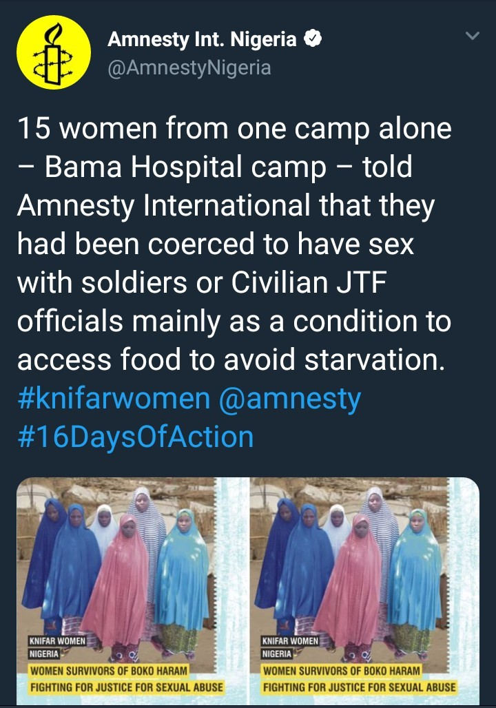 Amnesty International alleges women in IDP camps are being coerced to have sex with soldiers in exchange for food