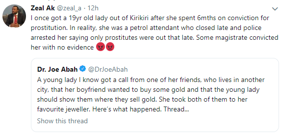 Twitter stories: Lady lands in jail after her