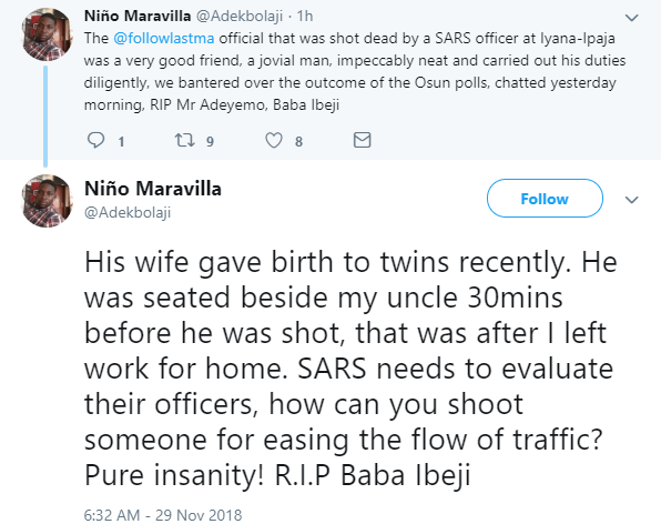 LASTMA accuses FSARS officials of murdering one of its official who recently welcomed a set of twins (photo)