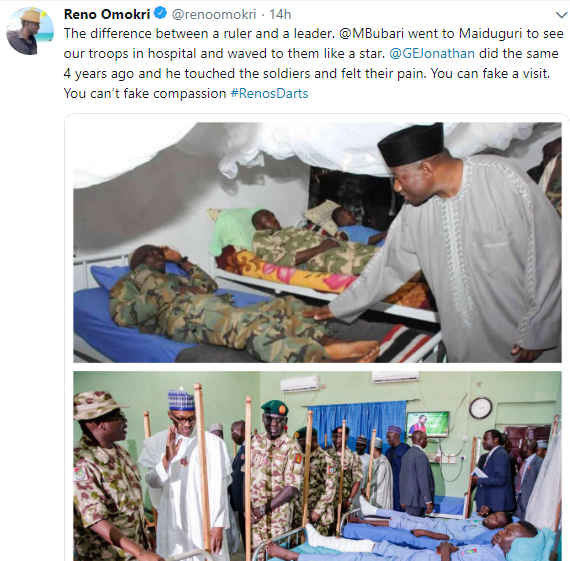 Reno Omokri trolls President Buhari after his visit to wounded soldiers in Maiduguri