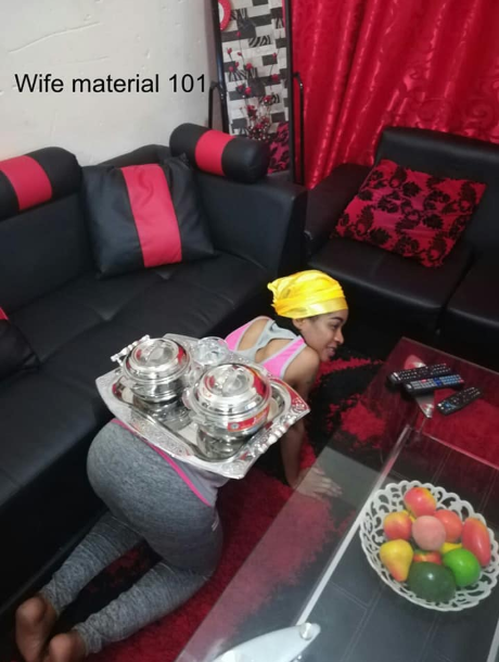 "Woman shows how ""wife materials"" should serve their husbands their meal"