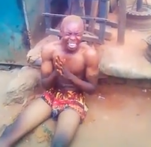 Video: Yahoo boy runs mad and starts confessing at his father