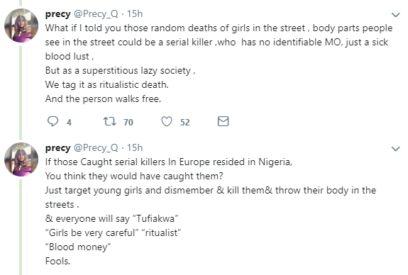 Nigerian lady says a serial killer might be behind the increasing rate of murder and dismemberment of young girls