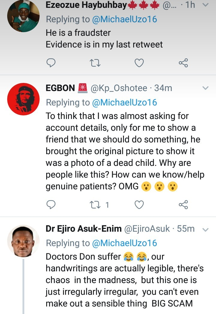 Scammer exposed by Twitter users after he shared photo of a sick child and asked for financial support