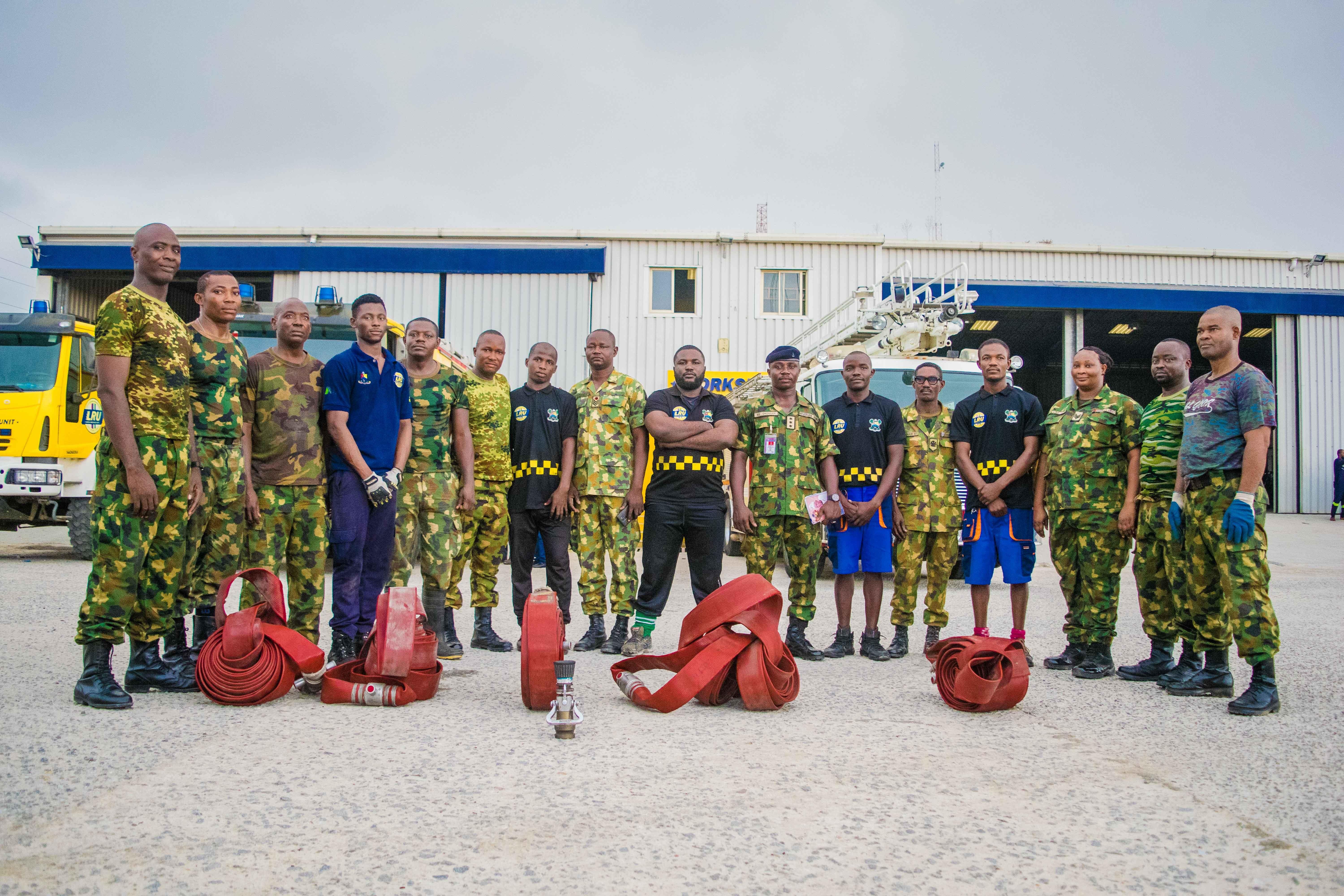 LASEMA Response Unit Fire and Rescue Team trains Nigerian Army on Fire Fighting Techniques