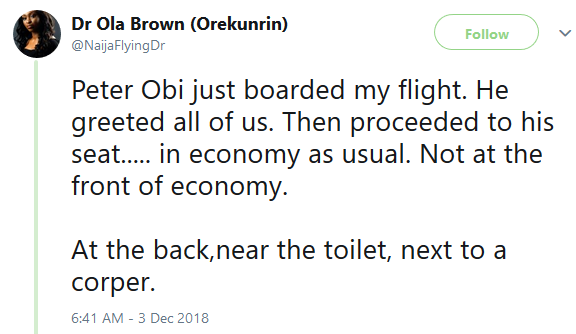 Video: Nigerian doctor reacts after spotting Peter Obi flying in economy class on a commercial flight
