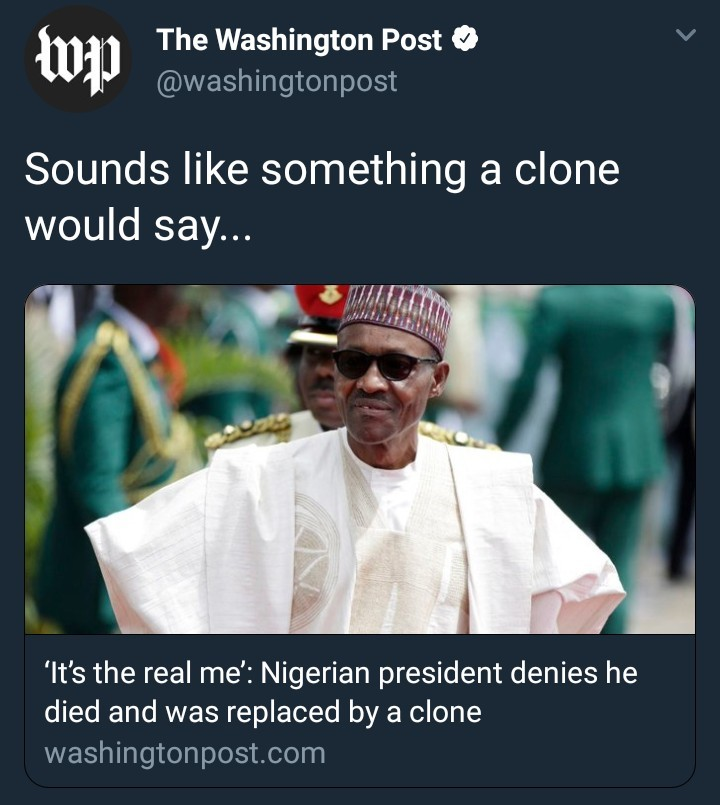 Washington Post has an interesting reaction to president Buhari
