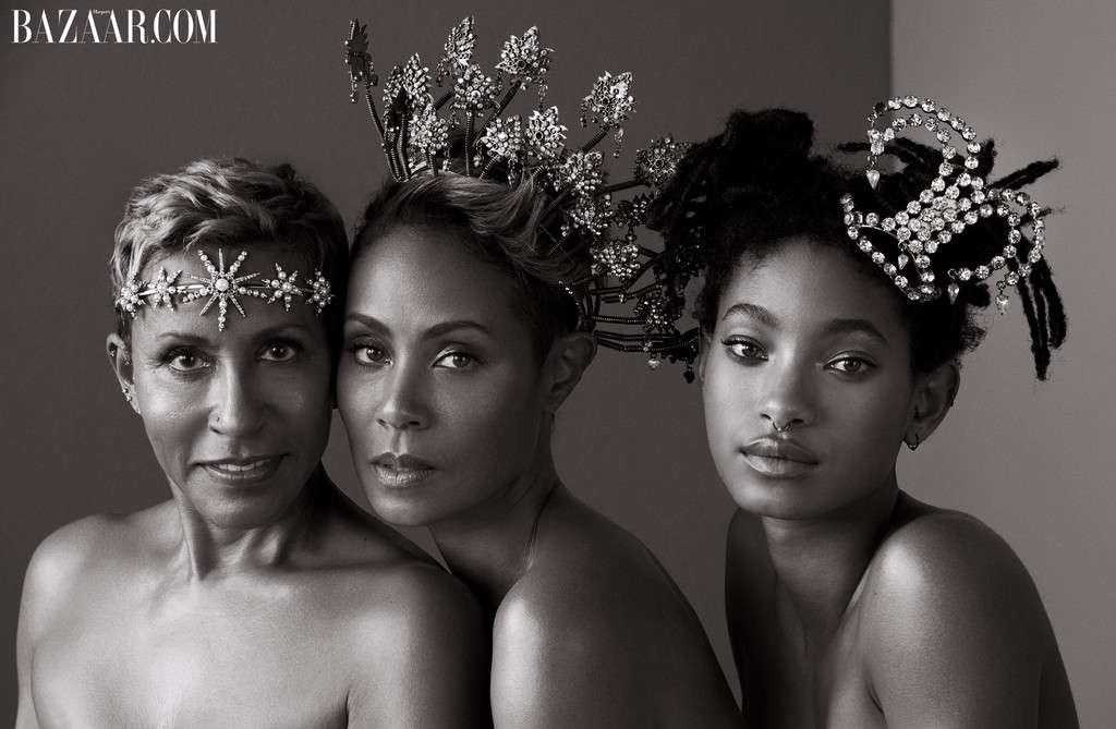 Three generations of beauty! Jada Pinkett Smith, her mom and daughter go topless as they Cover Harper's Bazaar (Photos)
