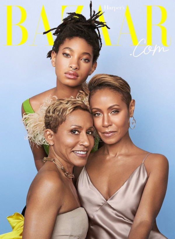 Three generations of beauty! Jada Pinkett Smith, her mom and daughter go topless as they Cover Harper?s Bazaar (Photos)