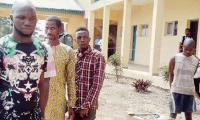 Photos: Imam, three others paraded for abducting and burning man alive in Osun