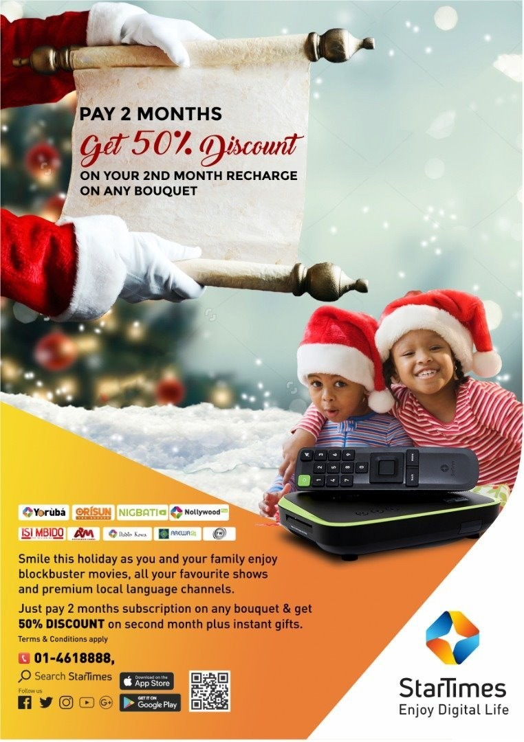 Christmas Promo: 50% off your StarTimes subscription till January 31st