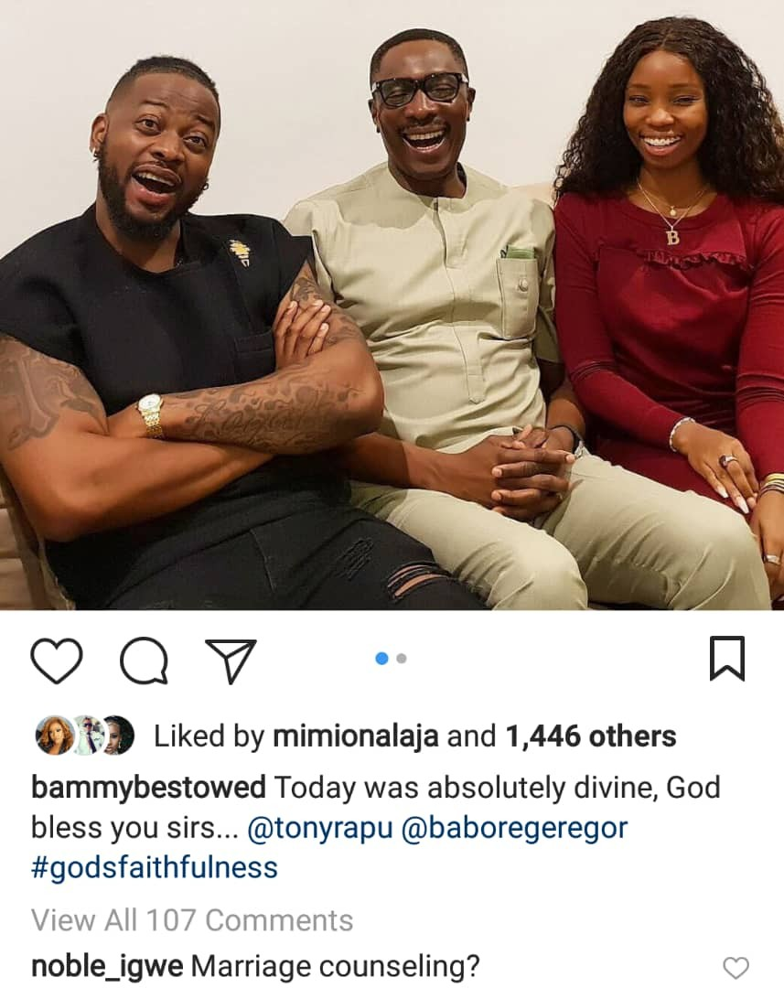 Marriage counselling? Bambam and Teddy A meet popular Lagos pastor Tony Rapu (photo)