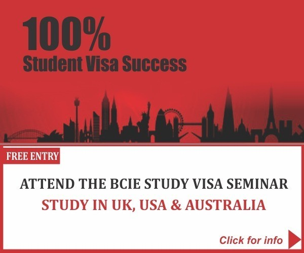 You are invited to the BCIE Study Visa Seminar ? Starting your studies in 2019 in the UK, USA & AUSTRALIA? You do not want to Miss this!.. Click to register