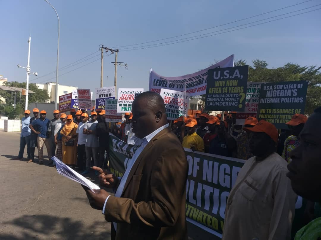 Protesters storm US embassy in Abuja, demand Atiku