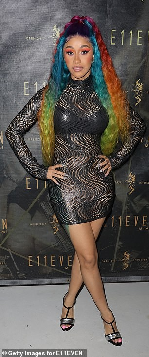 Cardi B parties in a revealing dress after announcing split from Offset