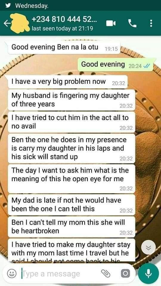 Lady whose husband is molesting their three year old daughter seeks help