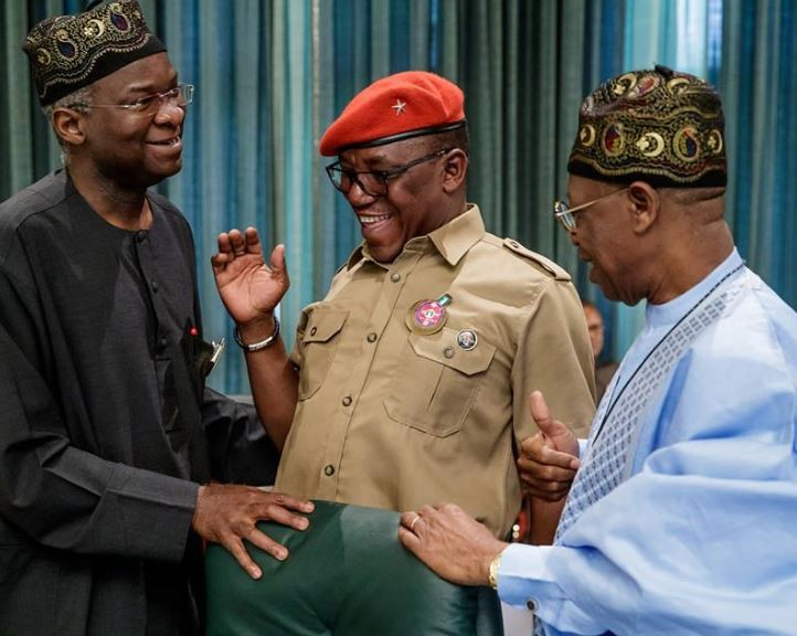Caption this photo of Fashola,?Solomon Dalong and Lai Mohammed from today