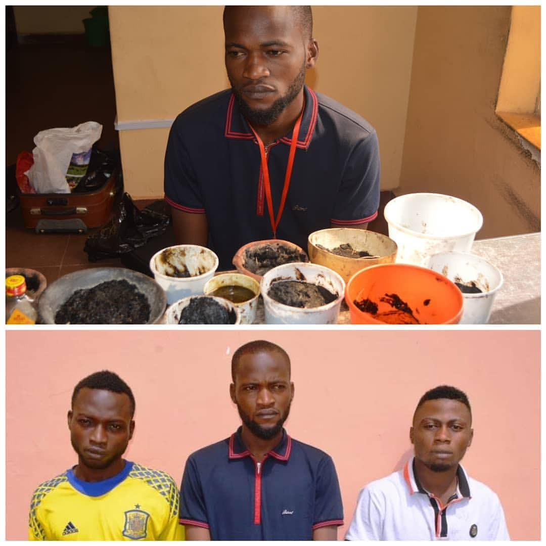 Photos: Three suspected internet fraudsters and their fetish substances paraded in Osun