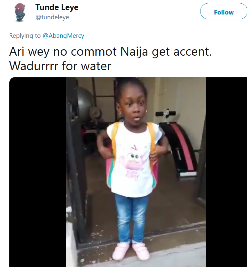 "Watch a Nigerian mother correct her daughter after she pronounced water as ""wadurrr"" in British accent"