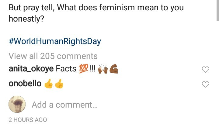 Ezinne Akudo replies and sheds light on what feminism is after Annie Idibia said she isn