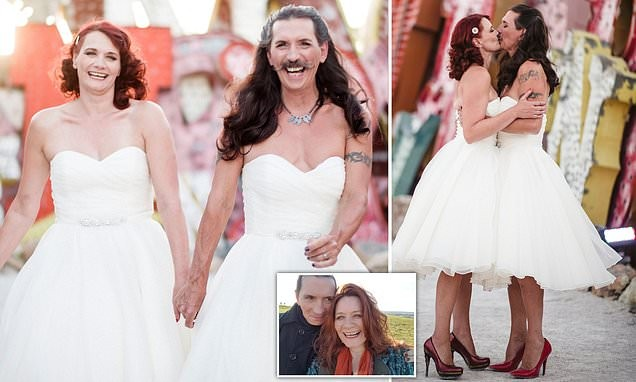 Cross-dressing man ties the knot wearing exactly the same wedding dress as his bride (Photos)
