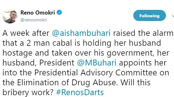 Reno Omokri accuses President Buhari of bribing his wife Aisha by giving her a presidential appointment few days after her outburst