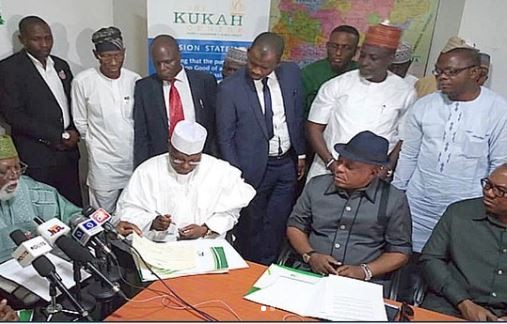 Photos: Finally,?Atiku, Ezekwesili sign the peace accord