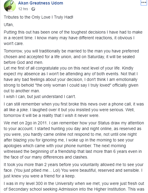"""The only woman I truly loved"" Heartbroken man writes touching epistle as he professes his love for his ex who is about to get married to another man"