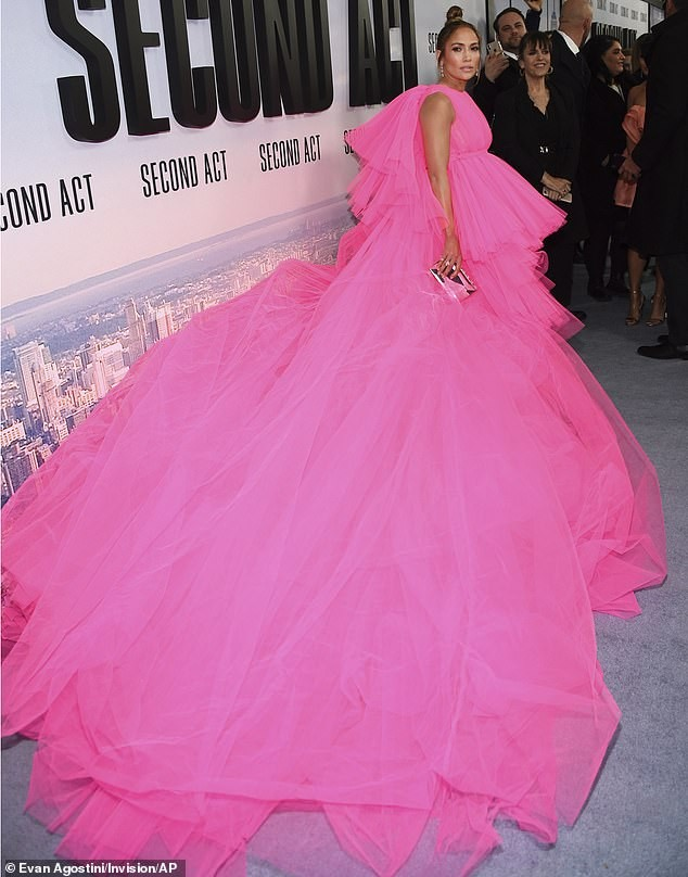 Check out the hot pink dress with huge train Jennifer Lopez rocked to the premiere of