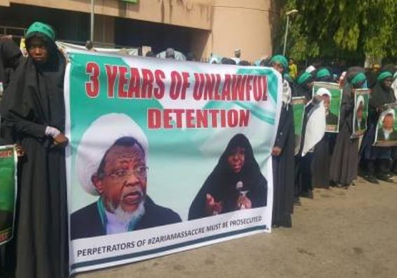 Shiite members hold protest to mark three years of El-Zakzaky