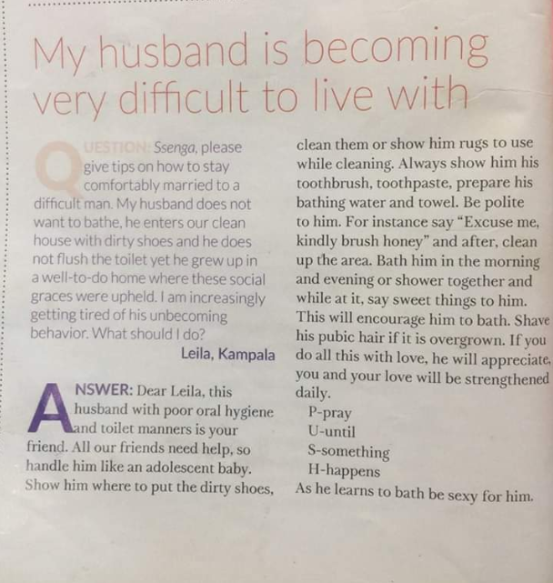 "See the advice a magazine gave to a woman who said her ""difficult"" husband hates to bathe and flush the toilet"