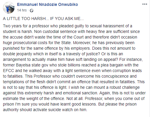 Sacked OAU lecturer, Prof. Akindele?s jail sentence is too harsh - Human rights activist  Emmanuel Onwubiko says