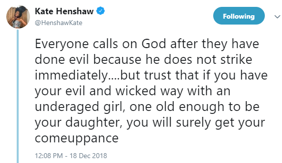 Kate Henshaw reacts to reports of a Cross Rivers state commissioner arrested for repeatedly defiling and impregnating 12 year old daughter of his mistress