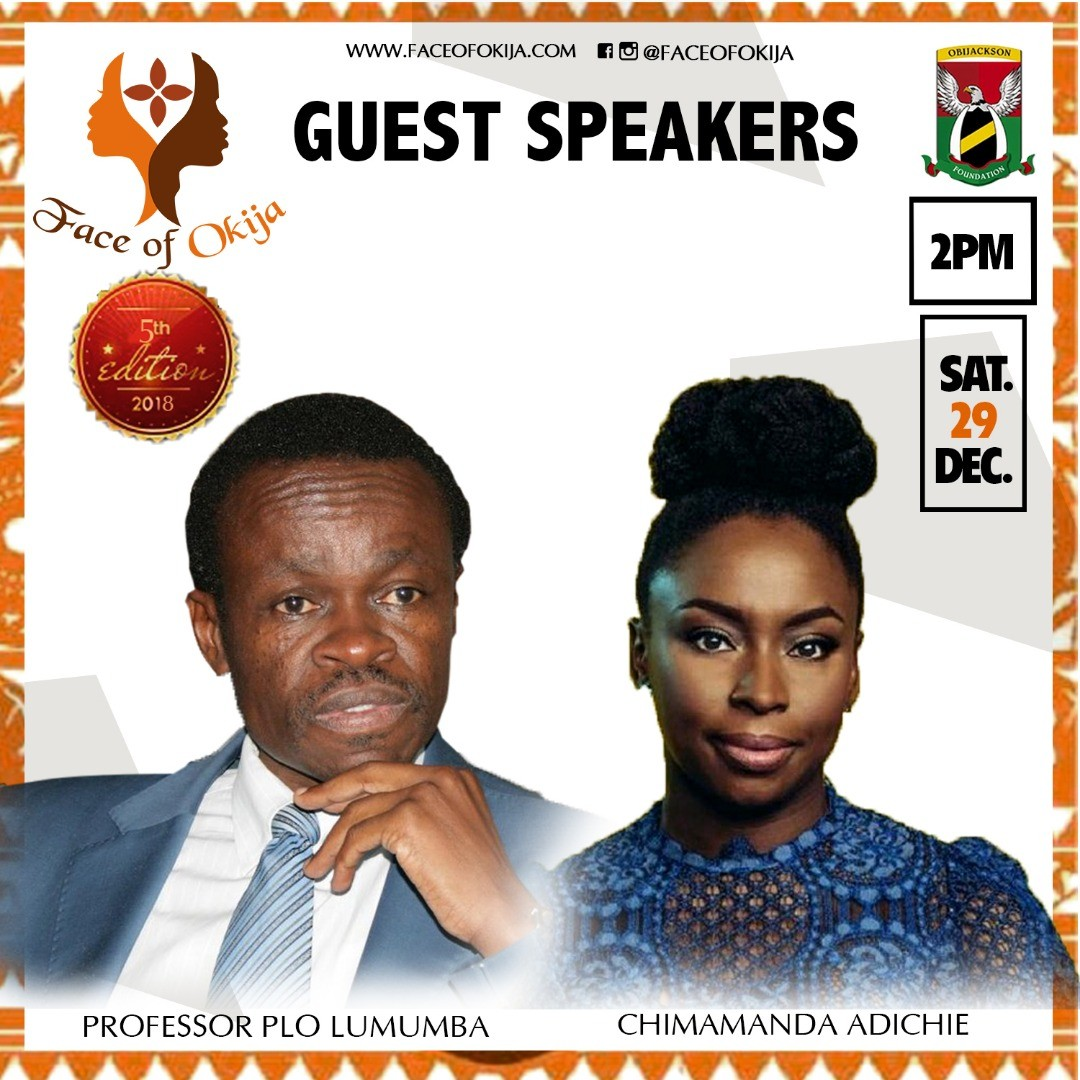 Chimamanda Ngozi Adichie and Prof Patrick Lumumba to speak at the 5th Edition of the Face Of Okija
