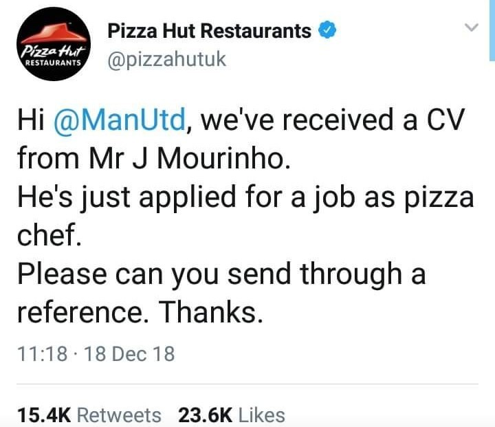 Savage! See how Pizza Hut reacted to the sack of Jose Mourinho